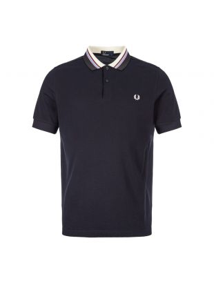 Fred Perry Polo Shirt Stripe Collar M6504 608 In Navy