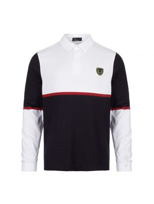 Fred Perry Long Sleeve Polo Shirt M5585 100 White/Navy