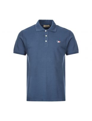 Maison Kitsune Polo Shirt Fox Patch DM00210K J7002 PT Petrol Blue