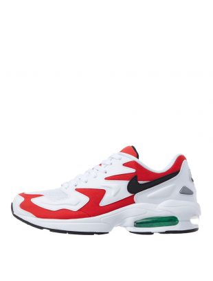 nike air max2 light trainers AO1741 101 habenero red / white