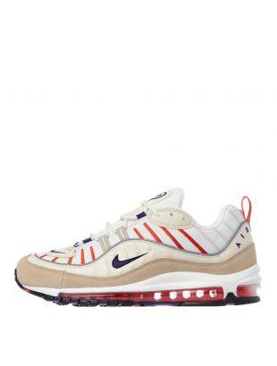 Nike Air Max 98 Trainers | 640744 108 Sail / Court Purple / Cream