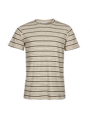 Norse Projects Niels Textured Stripe T-Shirt N01-0390-8105 In Kelp Green/Ecru