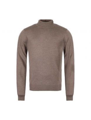 Merino Roll Neck Sweater - Tobacco