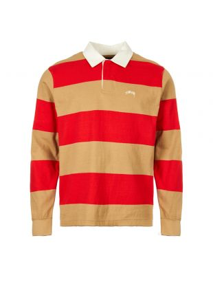 Stussy Rugby Shirt 1140120|KHAKI In Striped Tan And Red