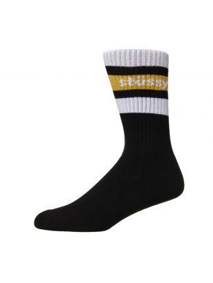 Stussy Stripe Crew Socks 138639 BLK In Black / Yellow / White