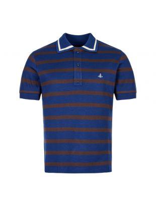vivienne westwood knitted polo shirt stripe S25GL0022 S23492 002F blue / brown / ecru