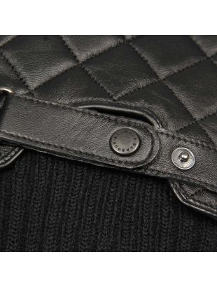 Gloves - Black Quilted Leather Ribbed Cuffs