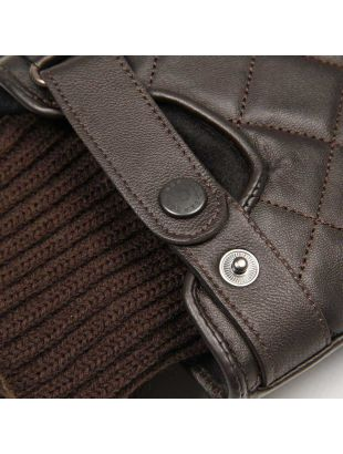 Gloves - Brown Quilted Leather  Ribbed Cuffs