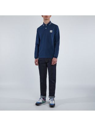 Long Sleeve Polo Tipped  - Navy