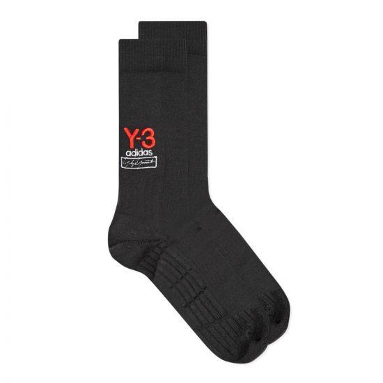 Y3 Socks Logo   Black / Red   Aphrodite