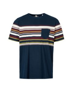 Albam T-Shirt ALM611461219 002 Navy Buren Stripe Pocket