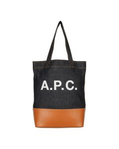 A.P.C. Logo Tote Bag COCMK H61229 CAF in Denim / Caramel