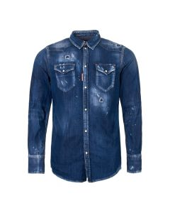 DSquared Denim Western Shirt S7DM0226 S30341 470 Blue Wash