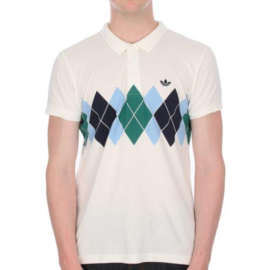 Adidas Argyle Polo Shirt - White