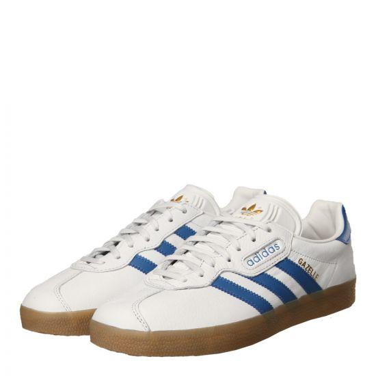 adidas Originals Gazelle Super Trainers CQ2798 in White / Blue