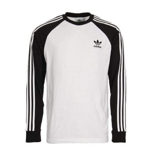 adidas Originals 3 Stripe Long Sleeve T-Shirt DH5793 White / Black