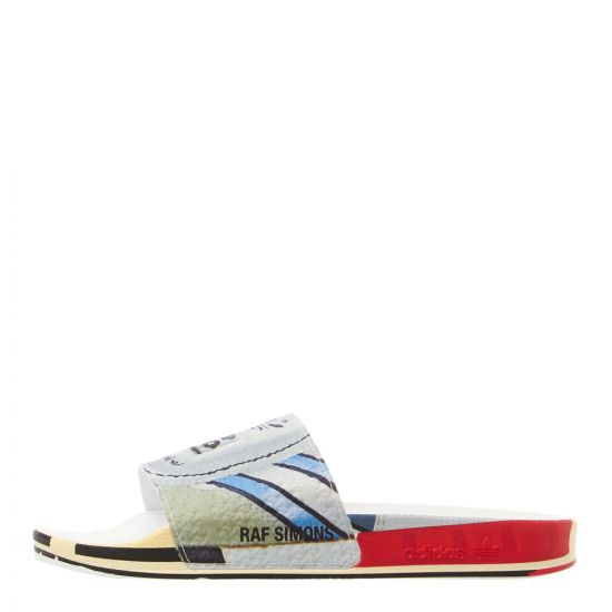 adidas x Raf Simons Adilette Slides Micropacer | EE7955 Silver / Red / White