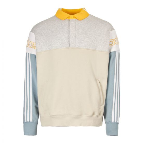 adidas originals rugby sweatshirt DV3147 white/grey/yellow