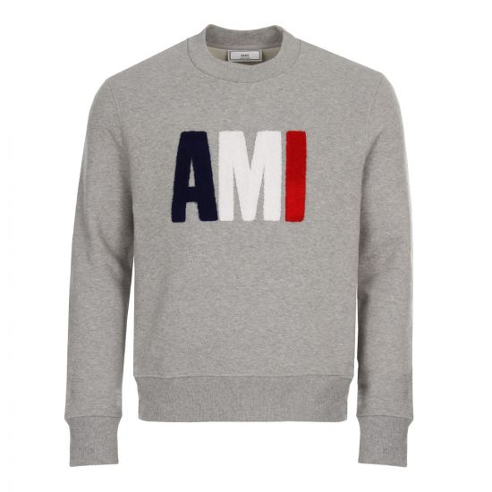 ami sweatshirt tricolour BSRJ0270 055 heather grey