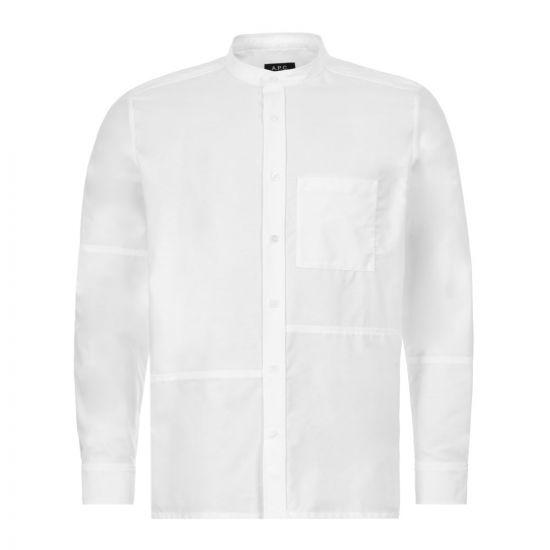 APC Collarless Shirt - White  21606CP -1