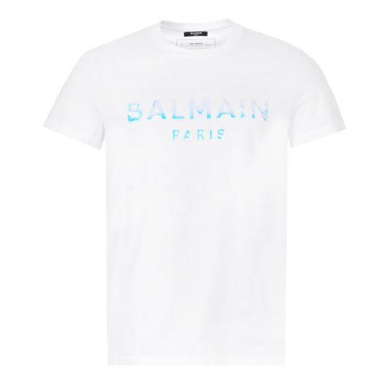 Balmain T-Shirt Hologram Logo | White TH01601I309 GDU | Aphrodite