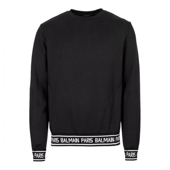Balmain Sweatshirt Tape   SH13253J928 OPA Black   Aphrodite