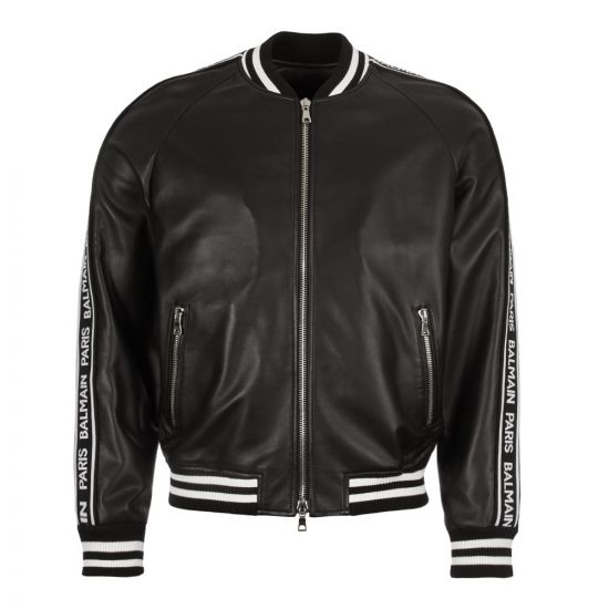Balmain Leather Bomber Jacket RH18893L002 0PA Black
