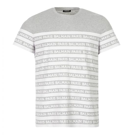 Balmain T-Shirt | SH11601|102 YAD Striped Grey