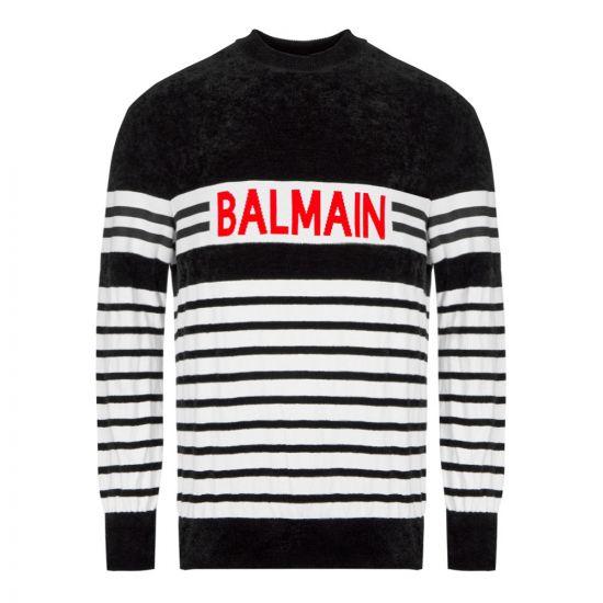 Balmain Jumper SH13762K004 EAB Black / White Striped
