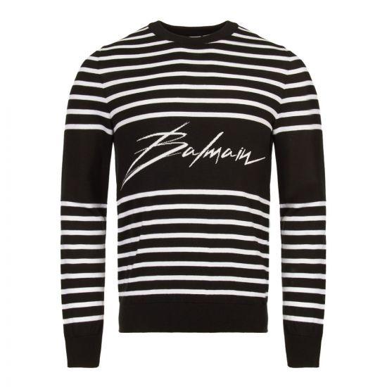 balmain jumper script logo RH13163K025 GAB black/white stripe
