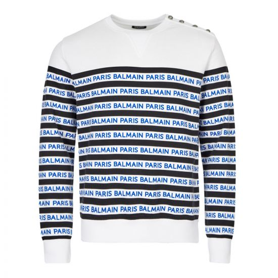 Balmain Sweatshirt | SH13237I104 EAG White / Navy striped | Aphrodite