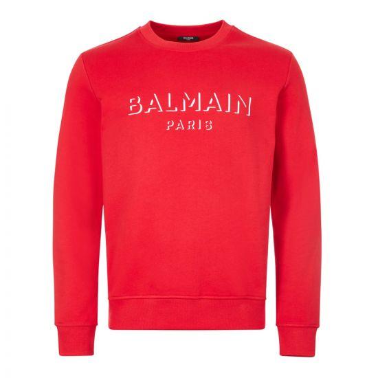 balmain sweatshirt 3d UH13277I364 3AA red