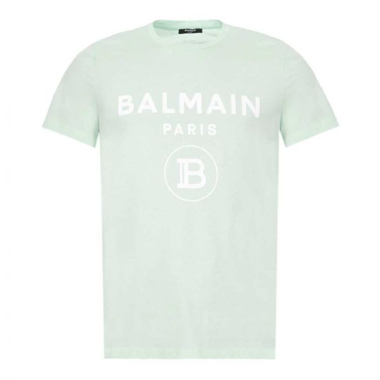 Balmain T-Shirt - Light Green w/ White Logo 21400CP -1
