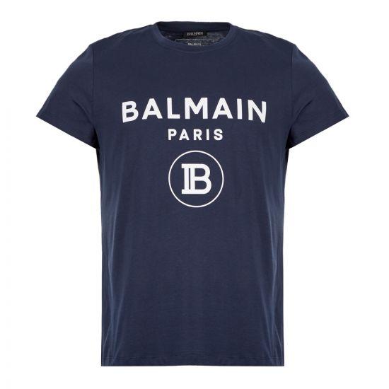 Balmain T-Shirt Logo  SH01601 192 6UB Navy  Aphrodite