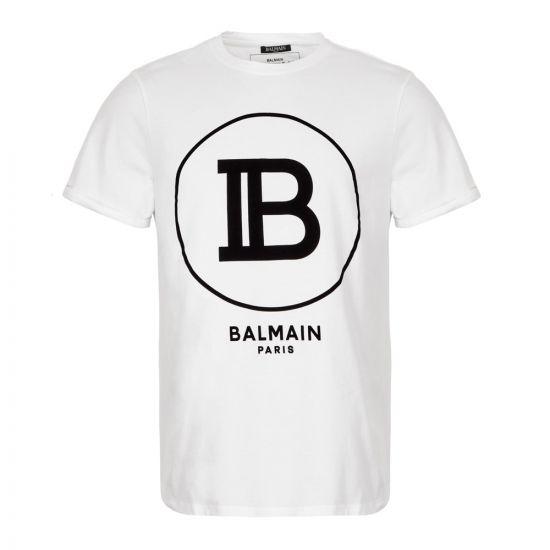 Balmain T-Shirt Logo SH01135I207 OFA in White from Aphrodite