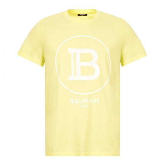 Balmain T-Shirt - Yellow w/ White Logo 21401CP -1