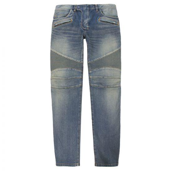 balmain biker jeans RH15551Z003 6KA bleach blue