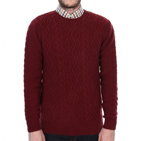 barbour barnard cable knit jumper in ruby