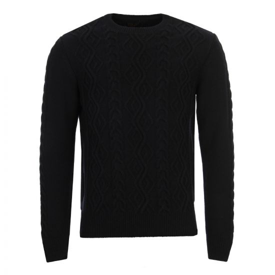 barbour barnard cable knit jumper in navy