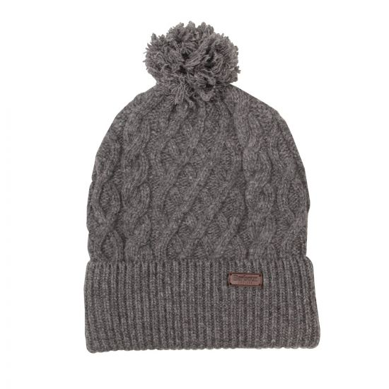 Barbour Bobble Hat Grey Cable MHA0308