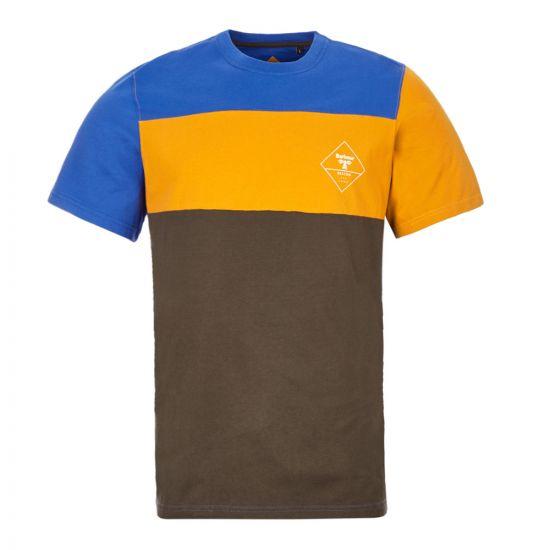 Barbour Beacon T-Shirt – Blue / Orange / Green Panel  21044CP -1