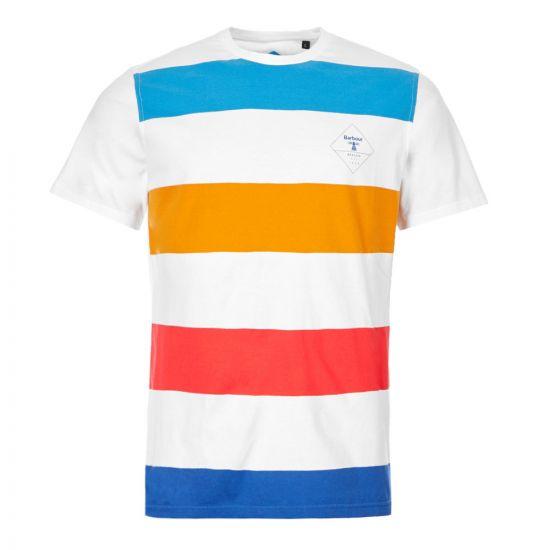 Barbour Beacon T-Shirt – White / Blue / Orange Stripe 21043CP -1