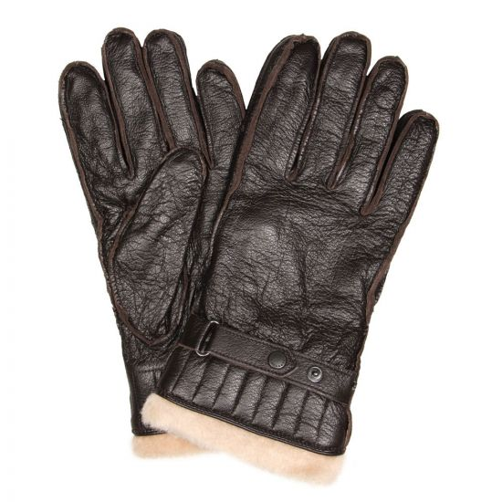 barbour gloves in brown utility leather mgl0013