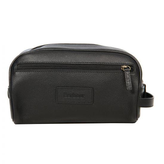 barbour washbag leather in black