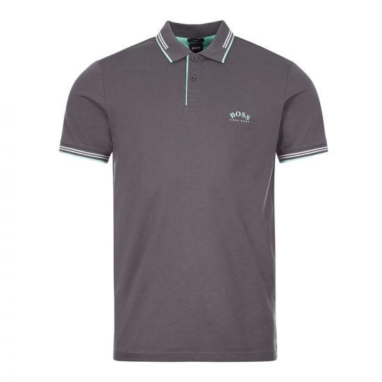 boss athleisure polo shirt paul curved 50412675 020 grey