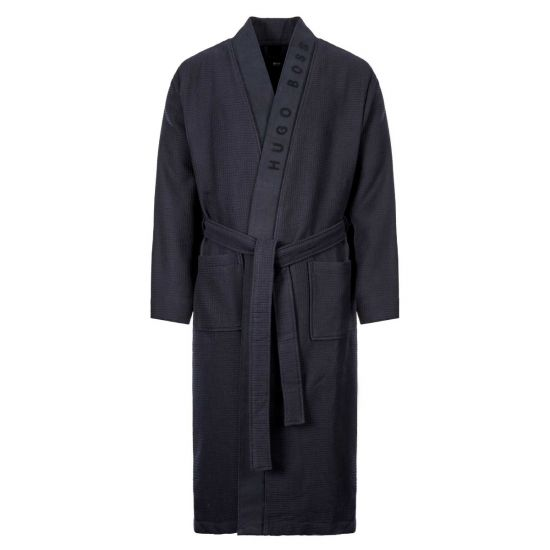 Boss Waffle Dressing Gown 5037821|403 In Navy At Aphrodite Clothing