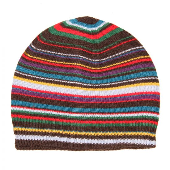 Paul Smith Signature Stripe Wool-Blend Beanie Hat In Brown