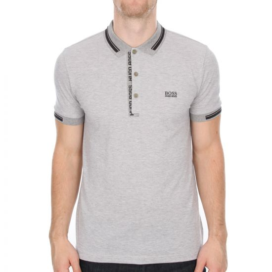 Hugo Boss Green Paule 4 Polo Shirt in Light Grey