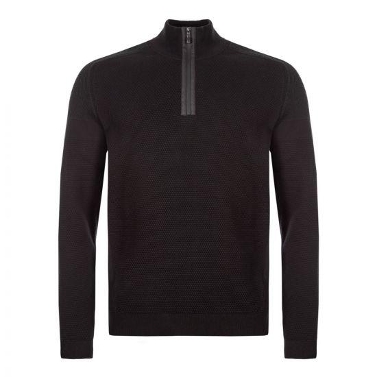 boss athleisure half-zip sweatshirt zemat 50416962 001 black