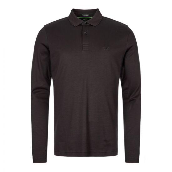 boss athleisure long sleeve polo shirt 50392723 001 black
